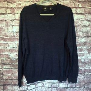 Calvin Klein merino wool v-neck blue sweater large